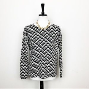 H&M Chevron Print Pullover Long Sleeve Top Sz XS
